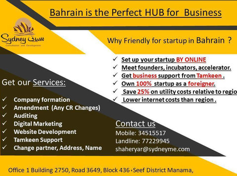 Bahrain perfect Hub for business (company formation service) - Iné