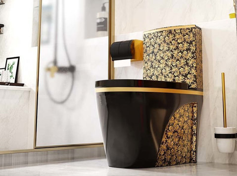 Black Toilet Design Model With Gold Flowers Wc - Möbel/Haushaltsgeräte
