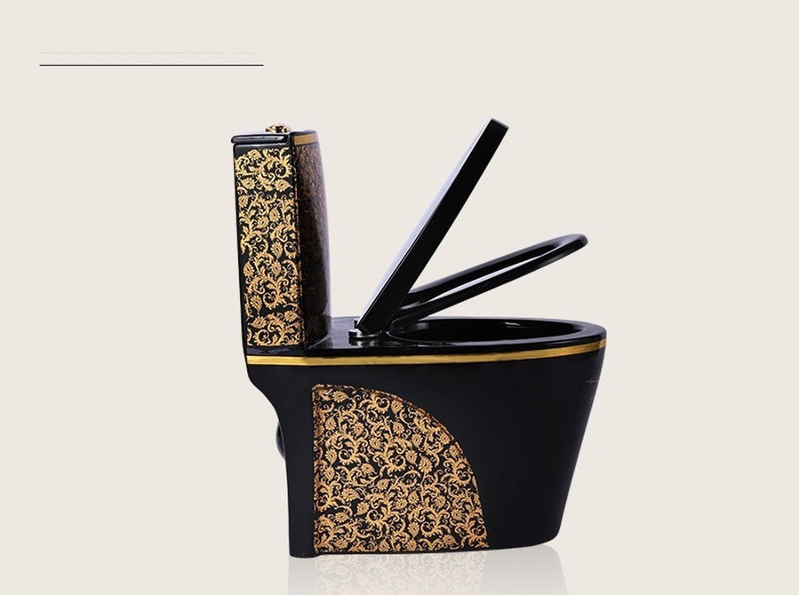Black Toilet Design Model With Gold Flowers Wc: Furniture ... on Model Toilet Design  id=55955