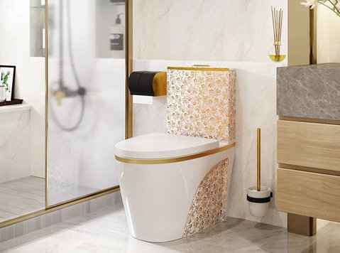 Luxury Toilete White & Gold Flower Wc !!! - 家具/设备