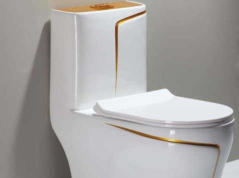 White Wc Toilet Design Model With Gold Line - Furniture/Appliance