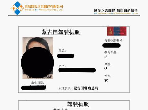 Driving License Translation in Qingdao Shandong China - Redakce a překlad