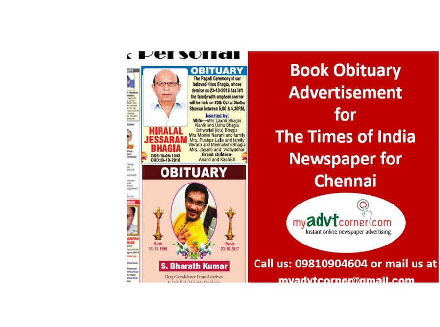 Book The Times of India Chennai Obituary Classified Ads - Services: Other