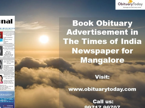 Obituary Advertisement in Times of India for Mangalore - Otros