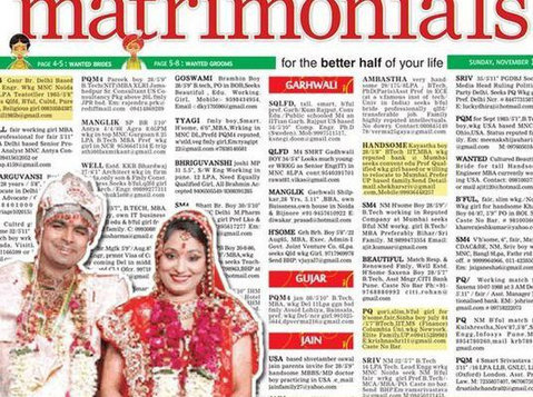 Times of India Matrimonial Ad Booking for Chandigarh - Services: Other