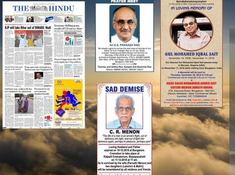 Book Obituary Ad in The Hindu Newspaper for Bangalore - Services: Other