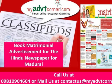 The Hindu Matrimonial Madurai Ad Booking Online - Services: Other