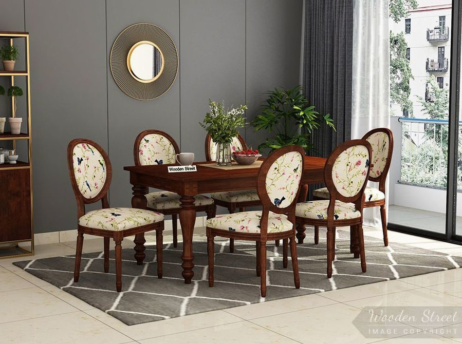 purchase 6 seater round dining table sets online in India - Furniture/Appliance
