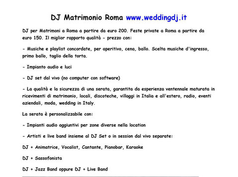 Dj per matrimonio Roma - Clubs/Events