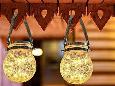 Solar Lanterns Outdoor Hanging Solar Lights - 家具/電化製品