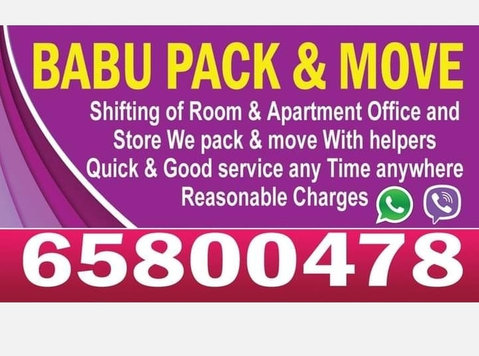 Babu packers and movers 6 5 8 0 0 4 7 8 - Déménagement
