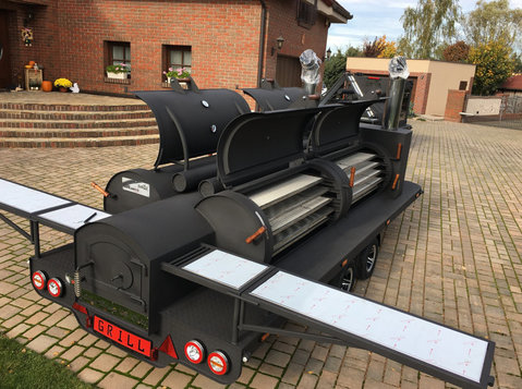 smoker trailer  grill bbq texas 4 xxl long mobilny master - מכוניות/אופנועים