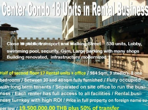 Pattaya Center Condotel 18 Units Rental Business - Buy & Sell: Other