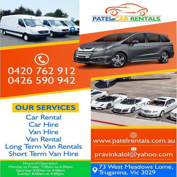 Patel Car Rentals | Car hire company Truganina - Рентање на автомобили