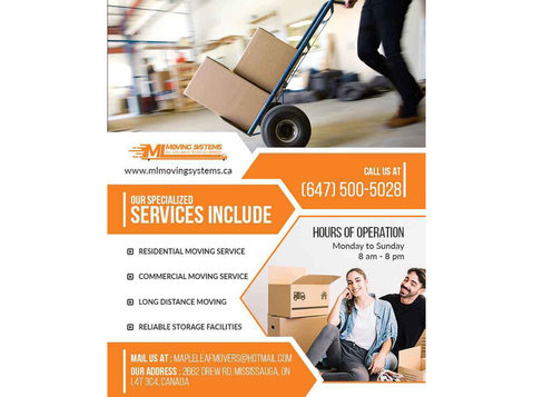 Mississauga Movers | Ml Moving Systems - Relocation services