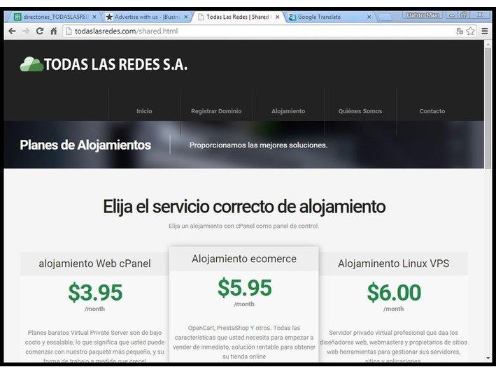 Todas las Redes, S.A, web hosting - Hosting & domains