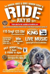 1st Annual Hogs and Dogs Motorcycle ride, Fundraiser and Adoption Event