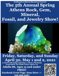 5th Annual Spring Athens Rock, Gem, Mineral, Fossil, and Jewelry Show!