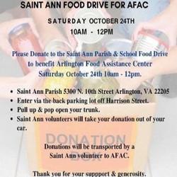 Afac Food Drive - Saint Ann Parish and School Saturday Oct 24th 10am - 12pm