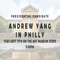 Andrew Yang Humanity First Rally on the Rocky Steps