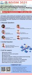 Bdidm 2021 International Conference on Big Data and Intelligent Decision Making (bdidm 2021)