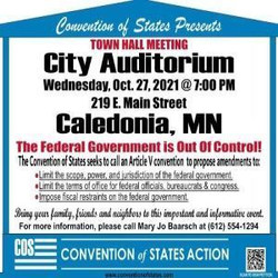 Caledonia Convention of States Town Hall Oct. 27, 7pm