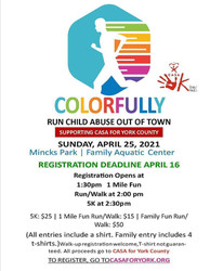 Colorfully Run Child Abuse Out of Town 5k Fun Run/Walk