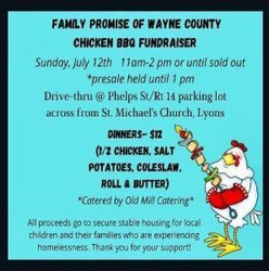 Drive thru Chicken Bbq Fundraiser for Family Promise of Wayne County