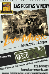 Friday Night Concert Series at Las Positas Winery featuring live music by Vasco Road July 9