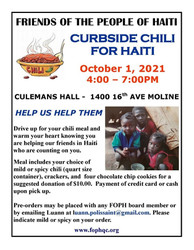 Friends of the People of Haiti - Curbside Chili for Haiti - Oct 1 - 4-7 1400 16th Ave Moline