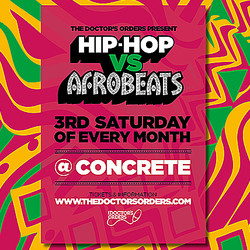 Hip-hop vs Afrobeats @ Concrete Shoreditch, Sat 17th October