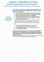 Invitation - Trade Mission To China! 2019 China Logistics/Transport Expo & Conference