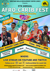 Join us for Afro Carib Fest Online on Saturday, August 22, 2020 from 3 Pm to 9 Pm