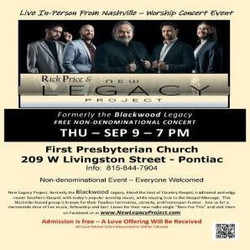 Live Concert with Nashville Quartet, New Legacy Project, in Pontiac, Il
