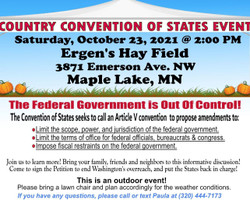 Maple Lake Outdoor Convention of States Event Oct. 23, 2pm