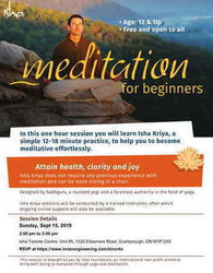 Meditation For Beginners on Sunday September 15, 2019 at 2 pm, Toronto