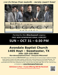 Nashville-based New Legacy Quartet in Live Concert at Avondale Baptist Church in Sweetwater