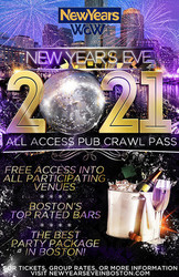 New Year's Eve All Access Bar Crawl Pass Boston, Faneuil Hall & Fenway 2021