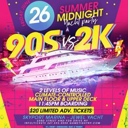 Nyc 90s vs 2k Summer Midnight Yacht Party at Skyport Marina
