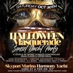 Nyc Halloween Masquerade Saturday Harmony Sunset Yacht Party at Skyport Marina