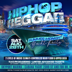 Nyc Hip Hop vs Reggae® Midnight Cruise Skyport Marina Cabana Yacht