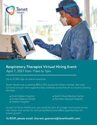 Respiratory Therapist Virtual Hiring Event on 4/7 - Up to $7.5k Sign-on Bonus | Tenet Healthcare