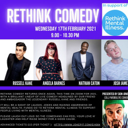 Rethink Charity Comedy Night Online via Zoom : Russell Kane, Nathan Caton, Angela Barnes and more