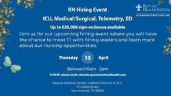 Rn Icu, Medical/Surgical, Telemetry, Ed Hiring Event on 4/15 | Baptist Health System