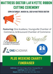 Sat 03/06: Mattress Doctor Lafayette Ribbon Cutting and Weekend Fundraiser for Childrens Hospital
