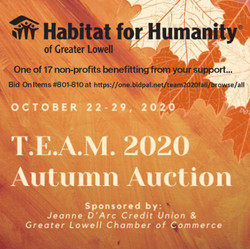 Team Habitat Lowell 2020 Virtual Autumn Auction: Oct 22-29, 2020