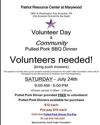 Volunteer Day and Community Pulled Pork Dinner