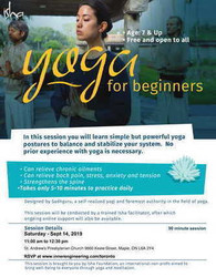 Yoga for Beginners - Free open to all 7 age & up, Sat 14 Sep, Toronto