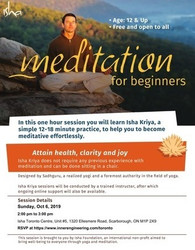 [free] Meditation For Beginners on Sun, Oct 06, 2019 at 2 pm, Toronto
