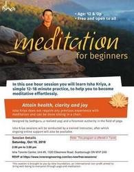 [free] Meditation For Beginners on Sun, Oct 19, 2019 at 2 pm, Toronto